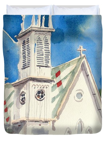 Church With Jet Contrail Duvet Cover
