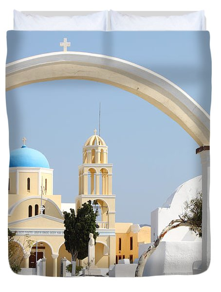 Churches Oia Santorini Greek Islands Duvet Cover by Carole-Anne Fooks