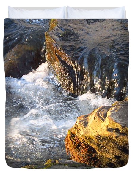 Churning Little Waterfalls On The Watauga Duvet Cover