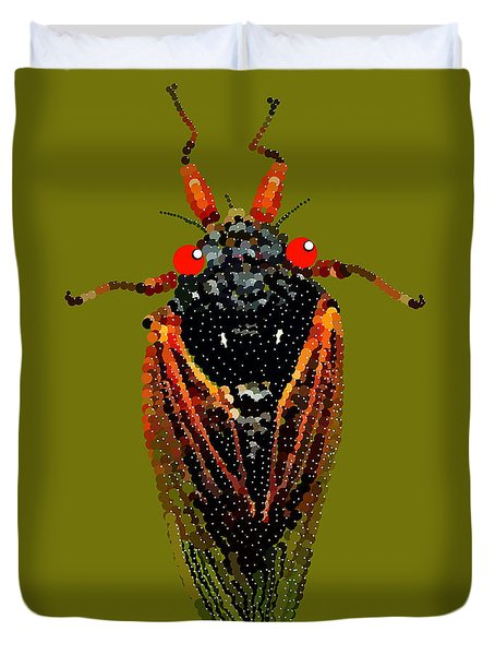 Cicada In Green Duvet Cover