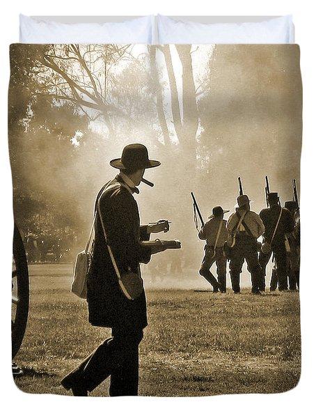 Cigar Man - U.s. Civil War Reenact Duvet Cover by Cheryl Del Toro