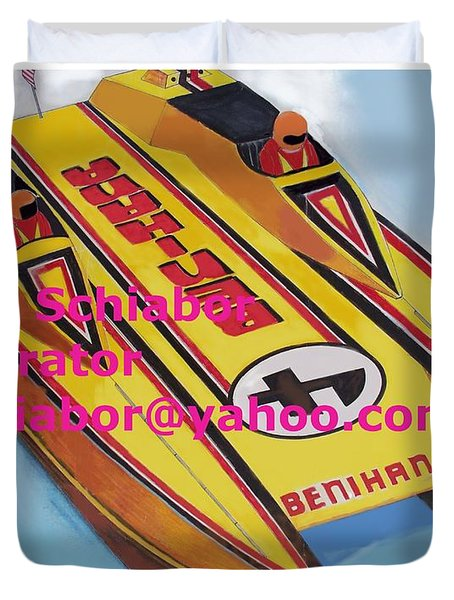 Cigarett Power Boat Illustration Duvet Cover by Eric  Schiabor