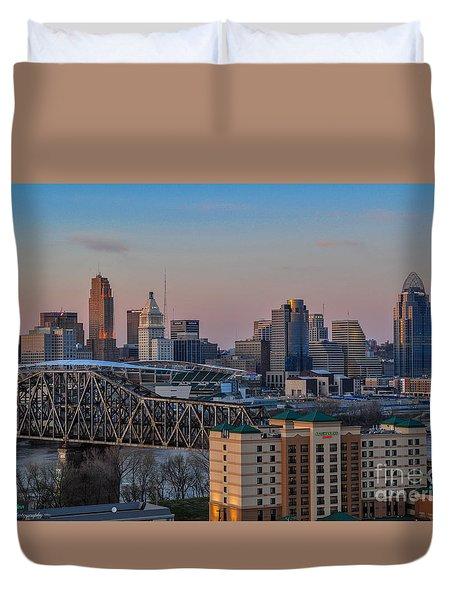 D9u-876 Cincinnati Ohio Skyline Photo Duvet Cover