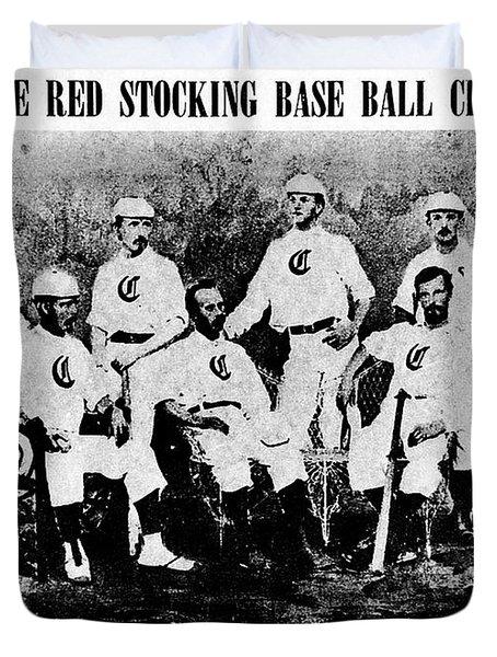 Cincinnati Red Stocking Baseball Team Duvet Cover