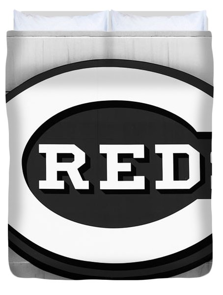 Cincinnati Reds Sign Black And White Picture Duvet Cover by Paul Velgos