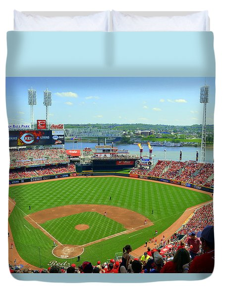 Cincinnati Reds Stadium Duvet Cover by Kathy Barney