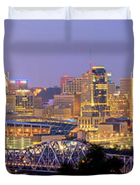 Cincinnati Skyline At Dusk Sunset Color Panorama Ohio Duvet Cover