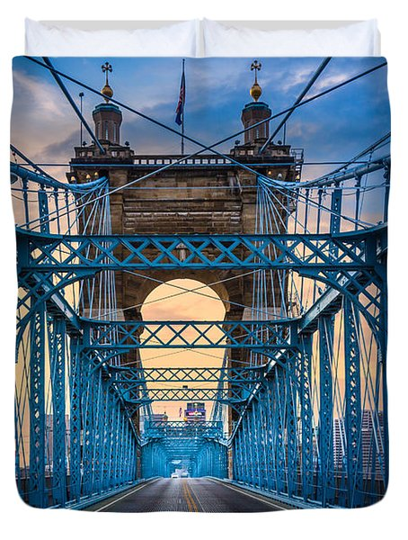 Cincinnati Suspension Bridge Duvet Cover