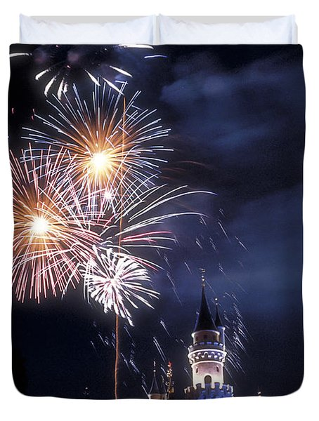 Cinderella Castle Fireworks Iconic Fairy-tale Fortress Fantasyland Duvet Cover
