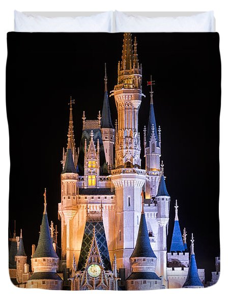 Cinderella's Castle In Magic Kingdom Duvet Cover by Adam Romanowicz