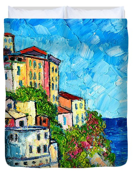 Cinque Terre Italy Manarola Painting Detail 3 Duvet Cover by Ana Maria Edulescu