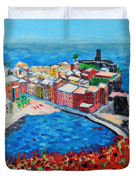 Cinque Terre Vernazza Poppies Duvet Cover by Ana Maria Edulescu
