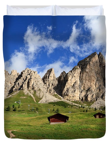 Duvet Cover featuring the photograph Cir Group - Gardena Pass by Antonio Scarpi