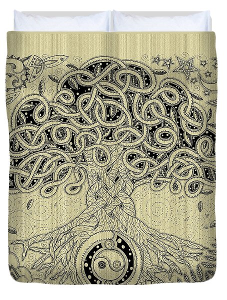 Circle Celtic Tree Of Life Inked Duvet Cover