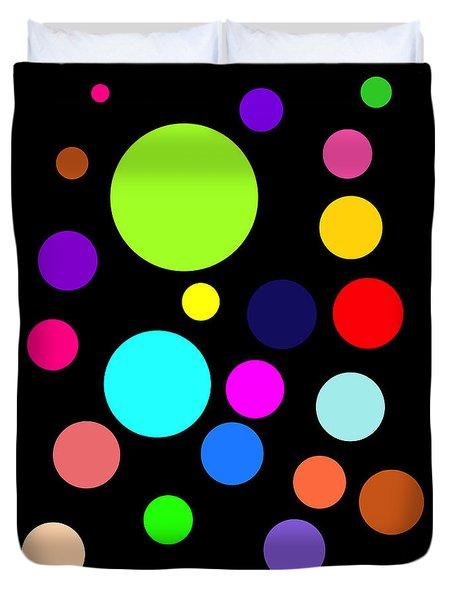 Circles On Black Duvet Cover