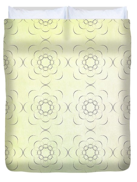 Circles Within Circles Flowers Upon Flowers - Textures Green Background Duvet Cover