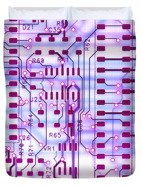 Circuit Trace II Duvet Cover by Jerry McElroy