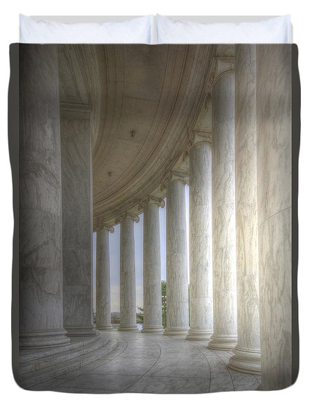 Circular Colonnade Of The Thomas Jefferson Memorial Duvet Cover by Shelley Neff