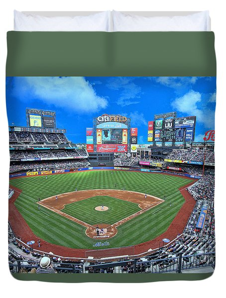 Citi Field Duvet Cover by Allen Beatty