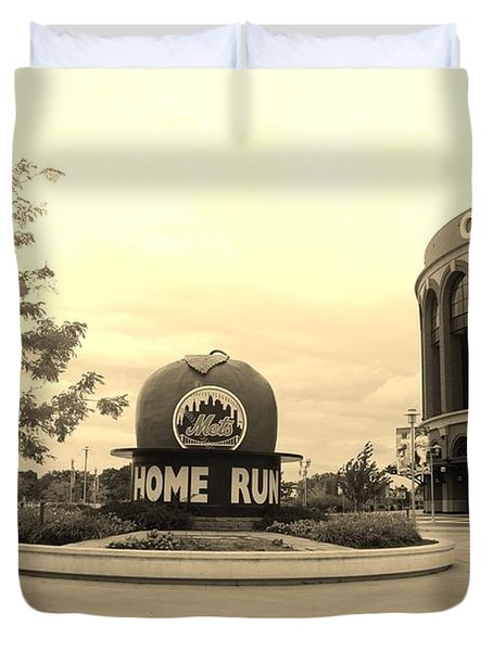 Citi Field In Sepia Duvet Cover by Rob Hans