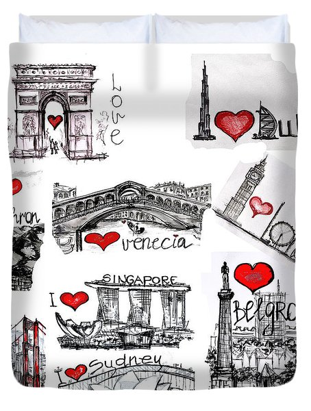 Duvet Cover featuring the drawing Cities1 by Sladjana Lazarevic