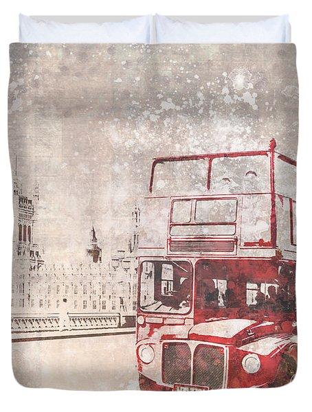 City-art London Red Buses II Duvet Cover