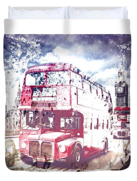 City-art London Red Buses On Westminster Bridge Duvet Cover
