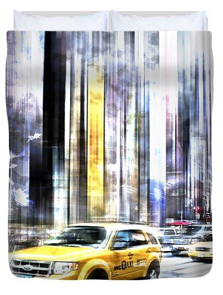 City-art Times Square II Duvet Cover by Melanie Viola
