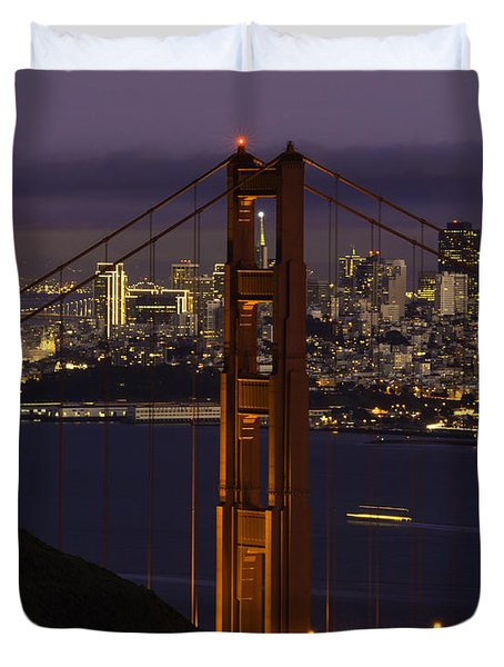 City At Night Duvet Cover
