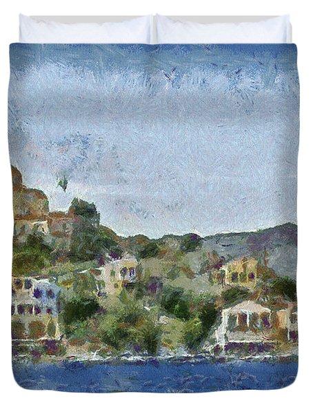 City By The Sea Duvet Cover by Ayse Deniz