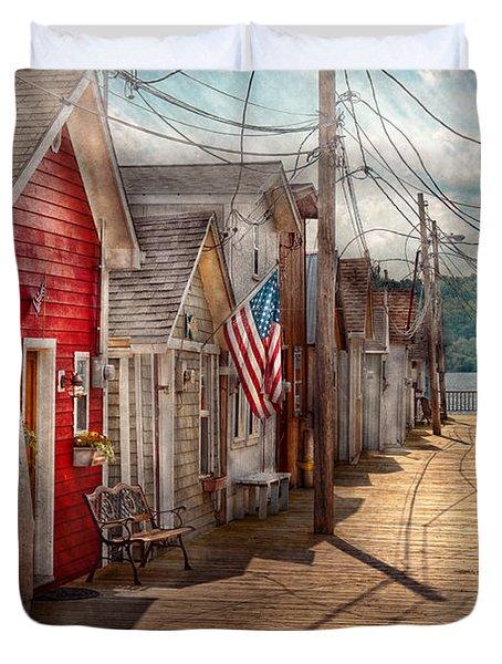 City - Canandaigua Ny - Shanty Town  Duvet Cover by Mike Savad