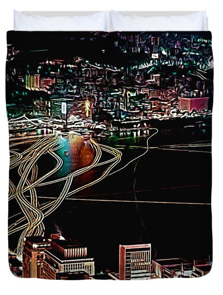 Duvet Cover featuring the digital art City Glows by Cathy Anderson