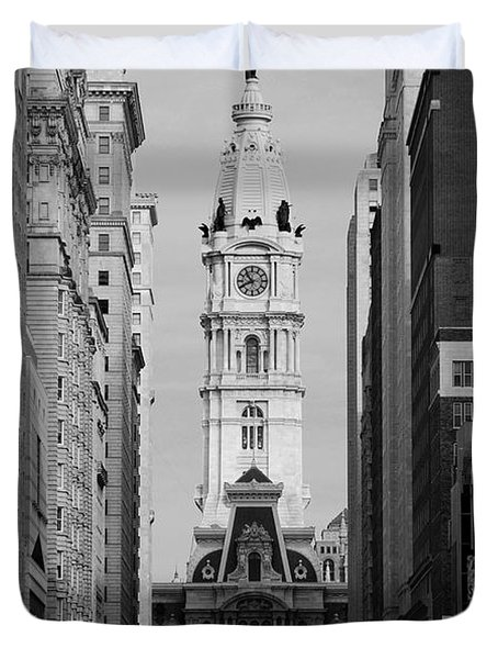 City Hall B/w Duvet Cover