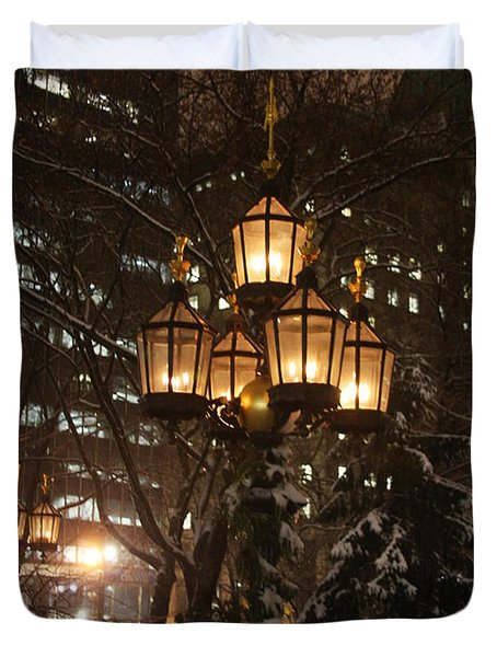 City Hall Park Lights Duvet Cover