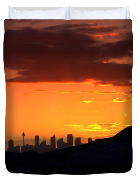 Duvet Cover featuring the photograph City In A Palm Of Rock by Miroslava Jurcik