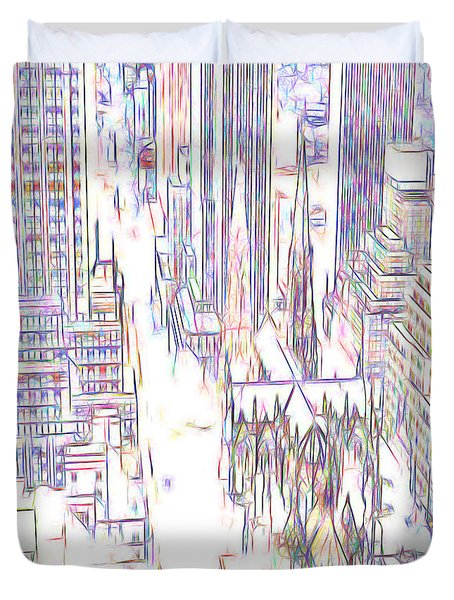 Duvet Cover featuring the digital art City In Lines  by Cathy Anderson