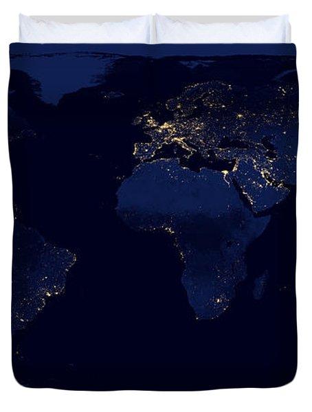 City Lights - Earth Duvet Cover
