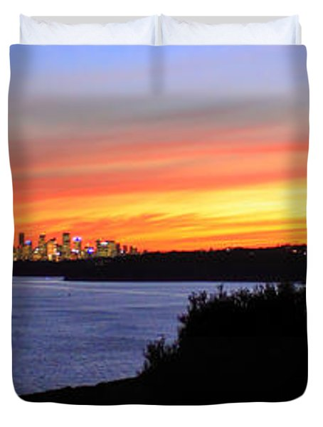 Duvet Cover featuring the photograph City Lights In The Sunset by Miroslava Jurcik