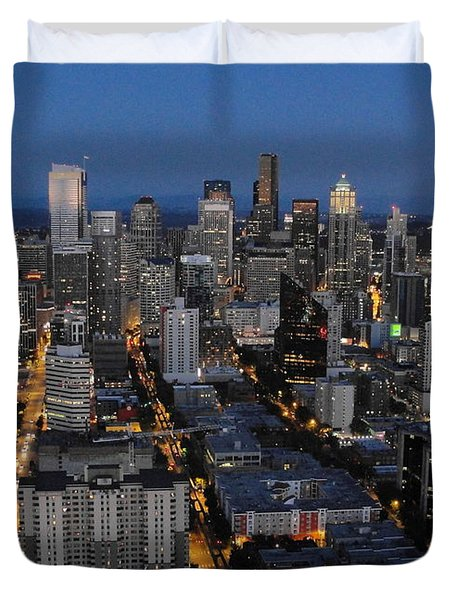 Duvet Cover featuring the photograph City Lights by Natalie Ortiz