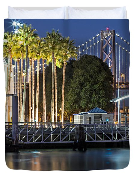 Duvet Cover featuring the photograph City Lights On Mission Bay by Kate Brown