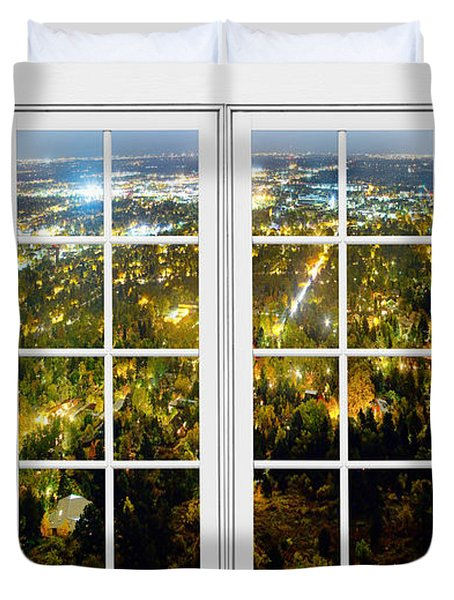 City Lights White Window Frame View Duvet Cover by James BO  Insogna