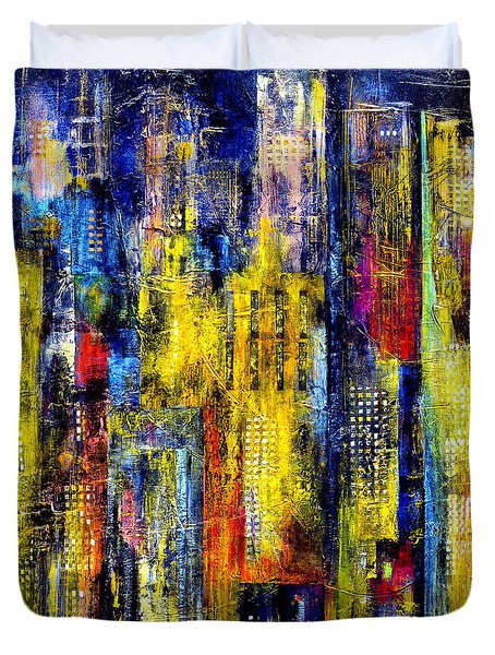 Duvet Cover featuring the painting City Nightime Metropolis by Katie Black