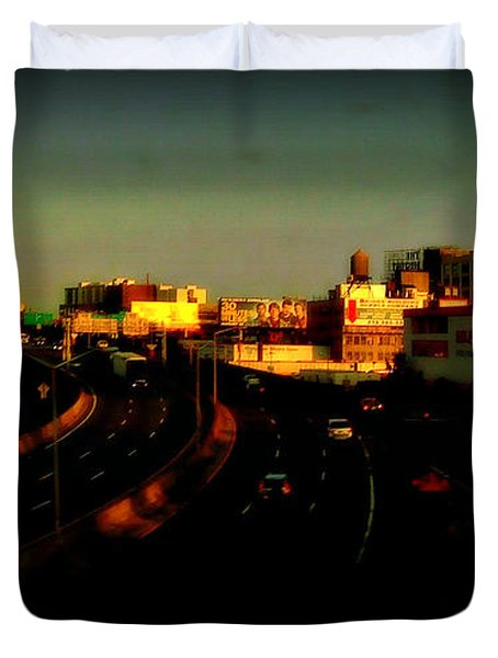City Of Gold - New York City Sunset With Water Towers Duvet Cover by Miriam Danar