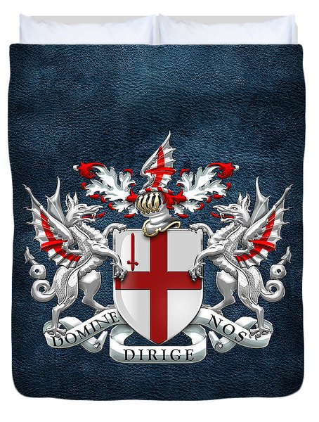 City Of London - Coat Of Arms Over Blue Leather  Duvet Cover