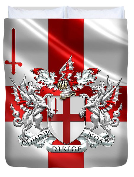 City Of London - Coat Of Arms Over Flag  Duvet Cover