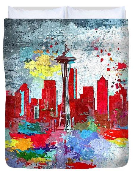 City Of Seattle Grunge Duvet Cover by Daniel Janda