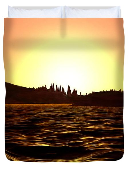 Duvet Cover featuring the painting City Of The Sun by Pet Serrano