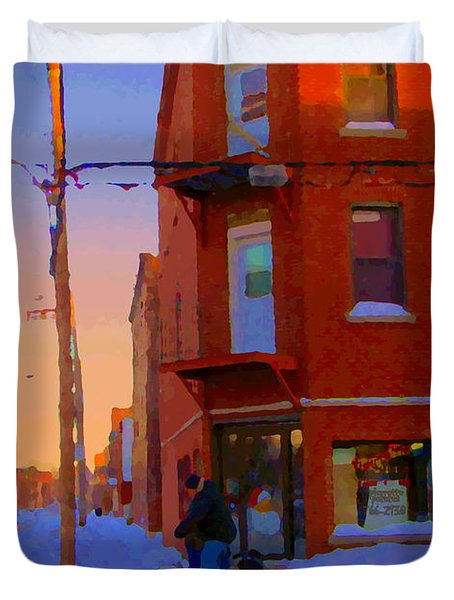 City Of Verdun Winter Sunset Pierrette Patates Art Of Montreal Street Scenes Carole Spandau Duvet Cover by Carole Spandau