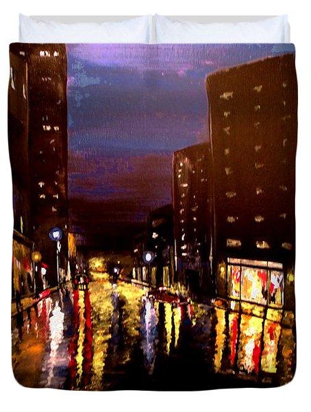 City Rain Duvet Cover by Mark Moore