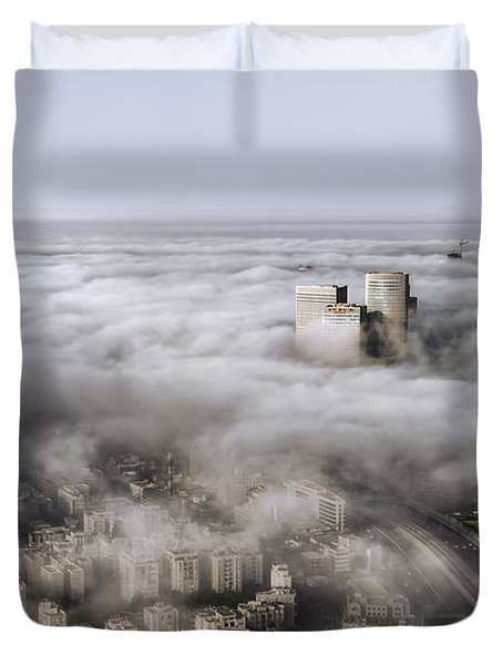 Duvet Cover featuring the photograph City Skyscrapers Above The Clouds by Ron Shoshani